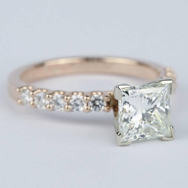 Princess Diamond Engagement Ring with U-Prong Band angle 3