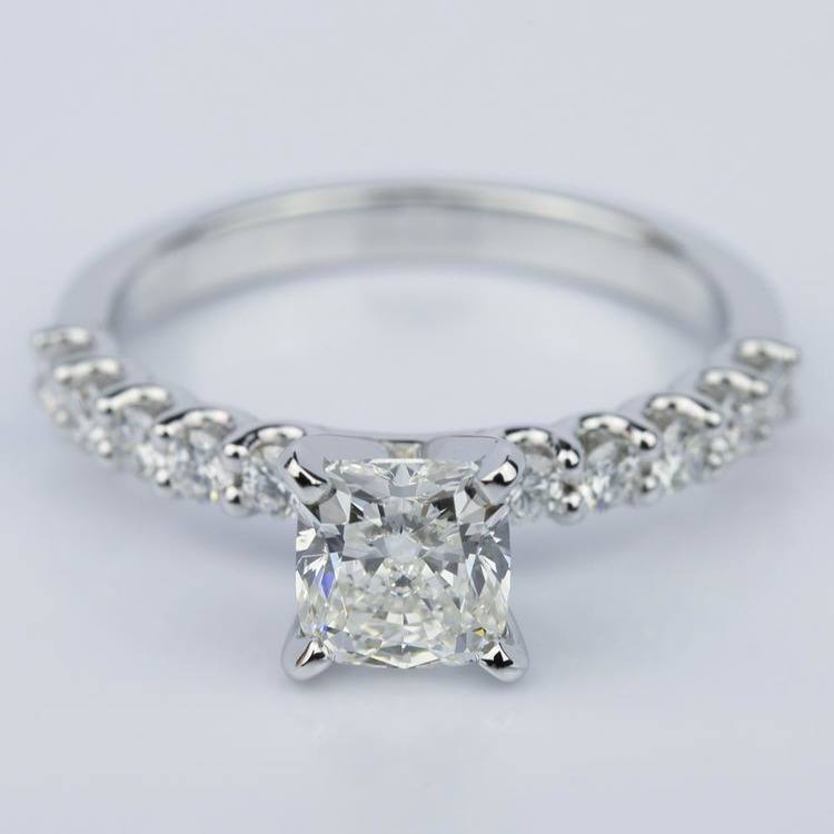 U-Prong Cushion Diamond Engagement Ring in White Gold (1.25 ct.)