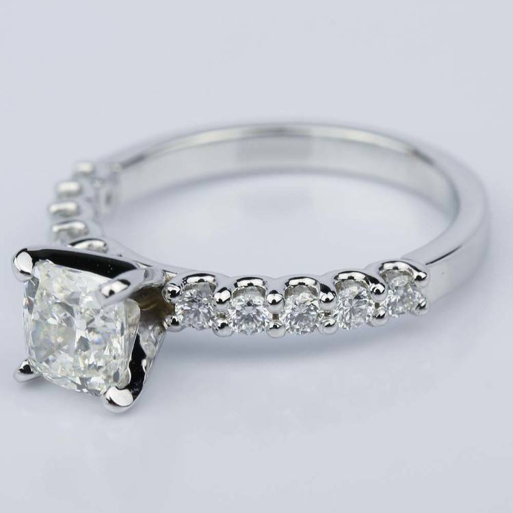 U-Prong Cushion Diamond Engagement Ring in White Gold (1.25 ct.) angle 2