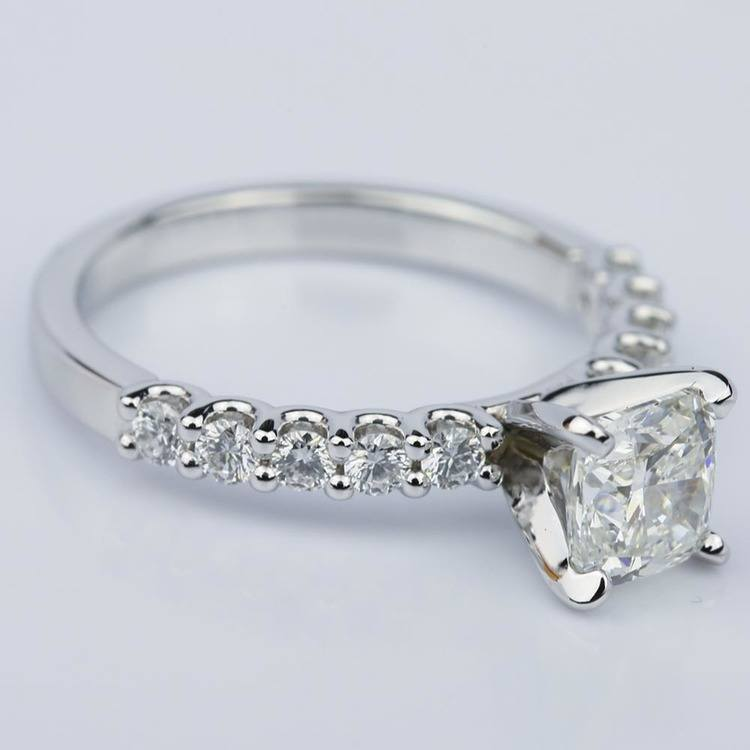 U-Prong Cushion Diamond Engagement Ring in White Gold (1.25 ct.) angle 3