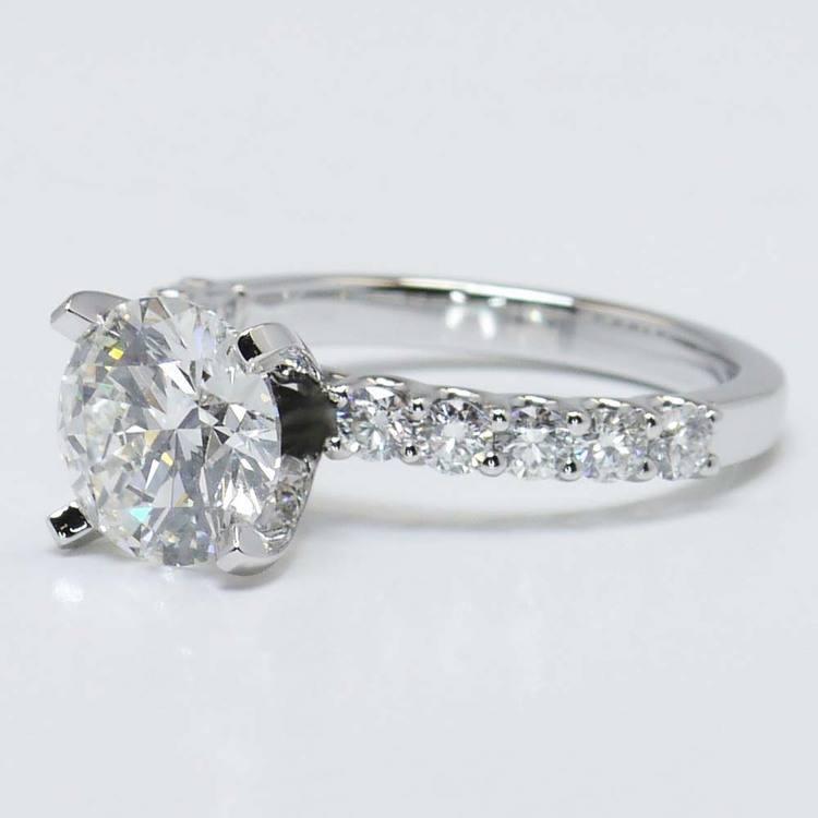 U-Prong Round Diamond Engagement Ring (2 Carat) angle 2