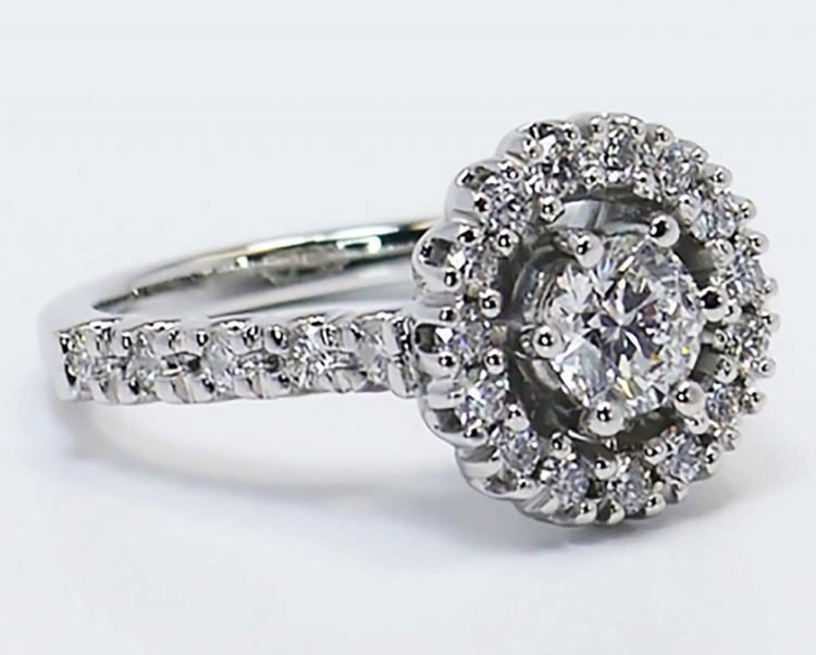 U-Prong Halo Diamond Ring angle 2