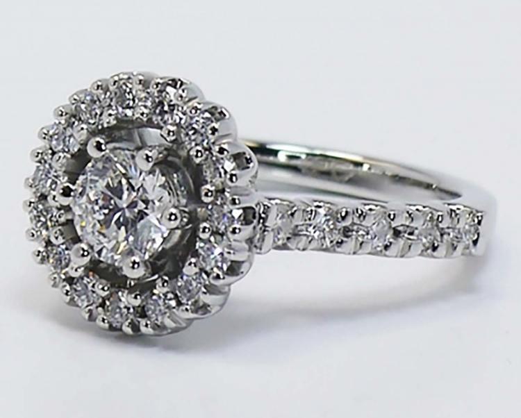 U-Prong Halo Diamond Ring angle 3