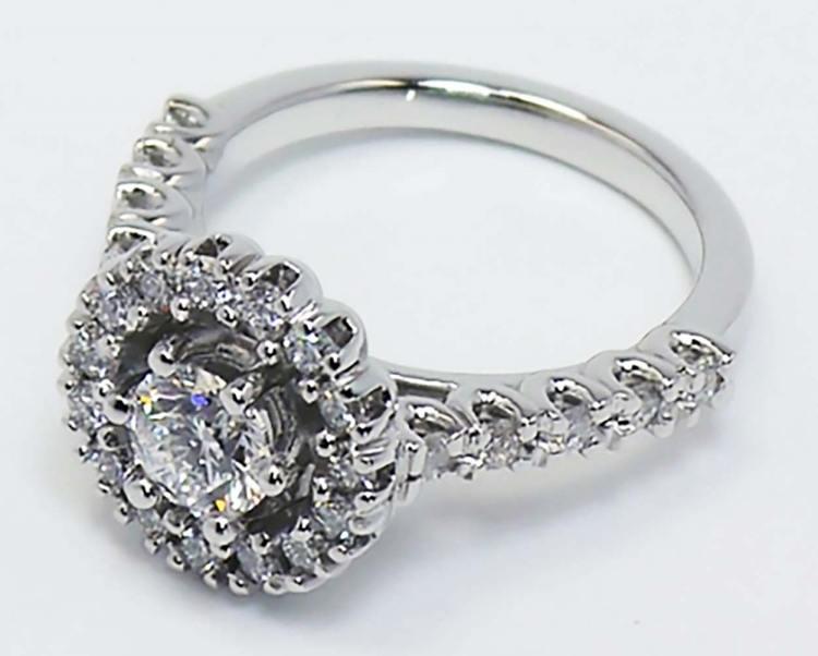 U-Prong Halo Diamond Ring angle 4