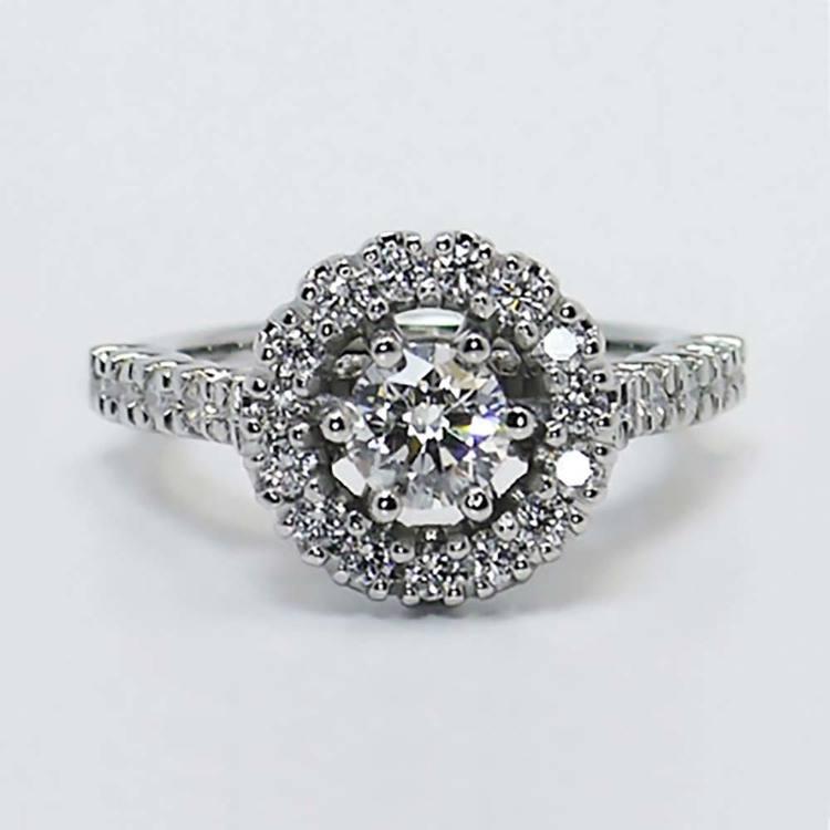 U-Prong Halo Diamond Ring