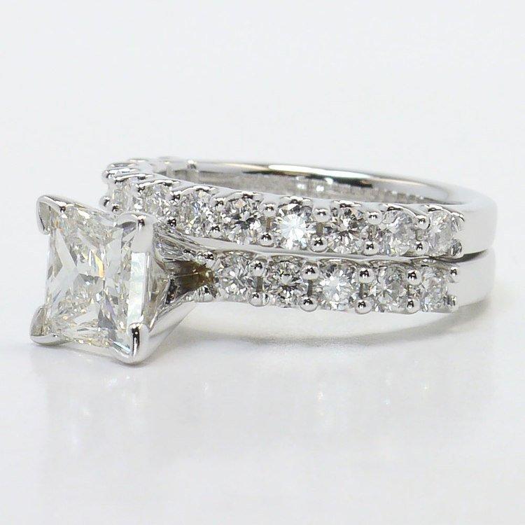 U-Prong Princess Diamond Engagement Ring With Matching Band angle 2