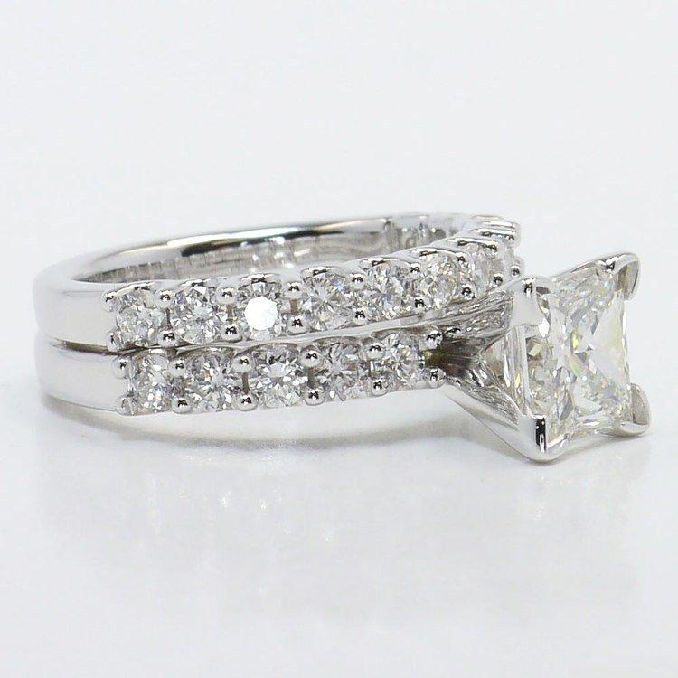 U-Prong Princess Diamond Engagement Ring With Matching Band angle 3