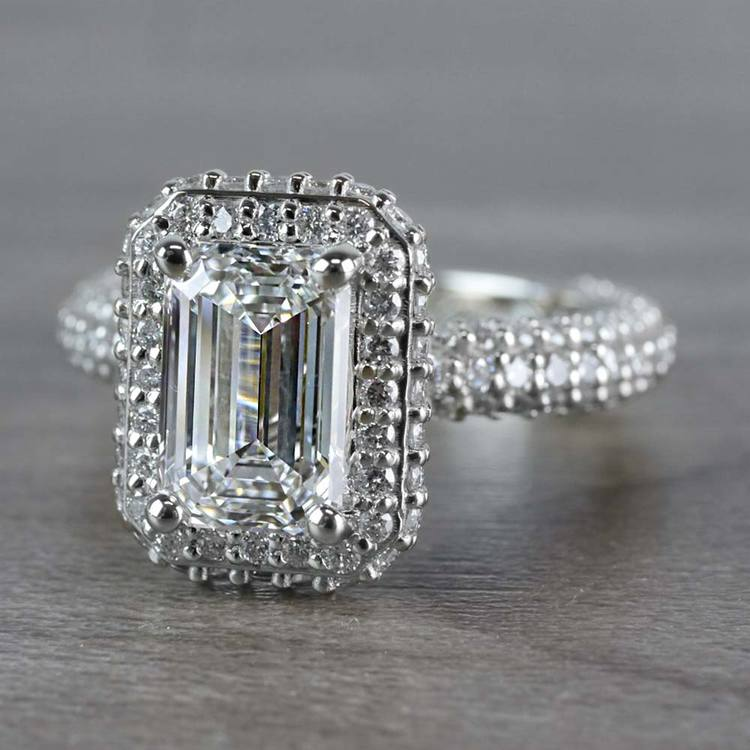 Unique Vintage Emerald Cut 2 Carat Diamond Ring angle 2
