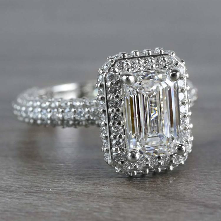 Unique Vintage Emerald Cut 2 Carat Diamond Ring angle 3