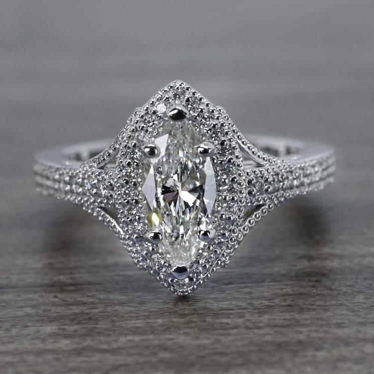 Unique Vintage Style Marquise Diamond Ring