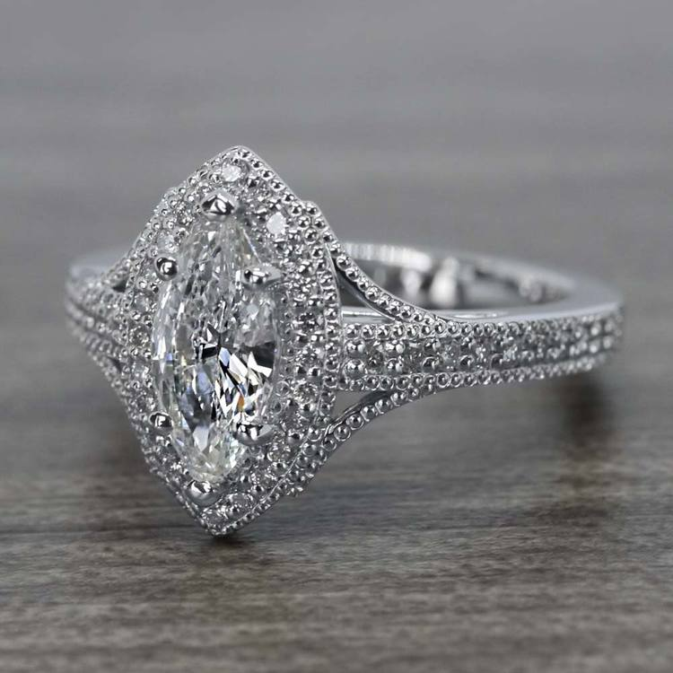 Unique Vintage Style Marquise Diamond Ring angle 2