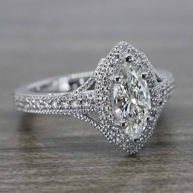 Unique Vintage Style Marquise Diamond Ring angle 3