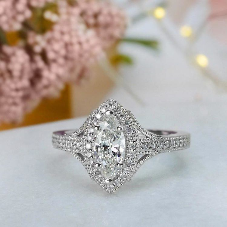 Unique Vintage Style Marquise Diamond Ring angle 5