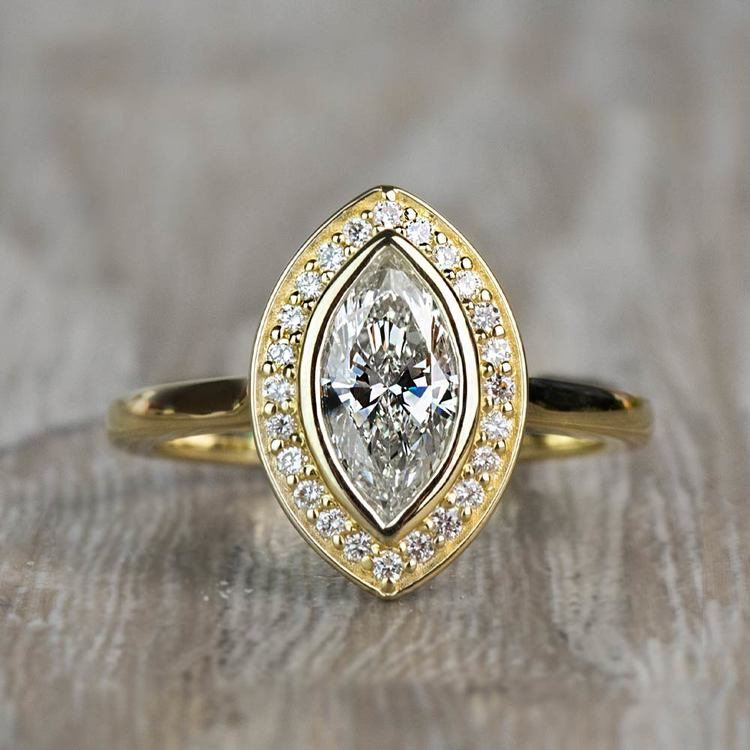 Vintage 1.20 Carat Marquise Halo Diamond Engagement Ring in Yellow Gold