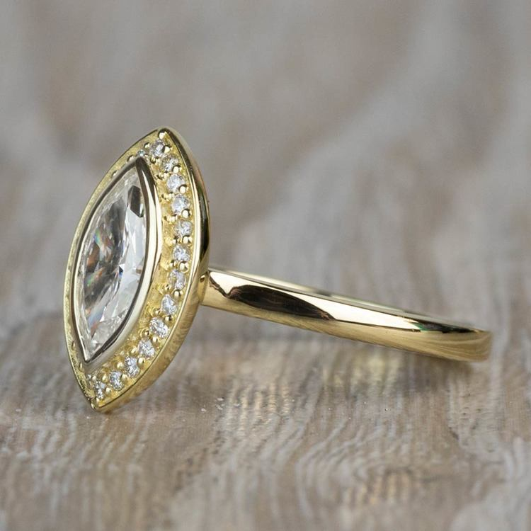 Vintage 1.20 Carat Marquise Halo Diamond Engagement Ring in Yellow Gold angle 2