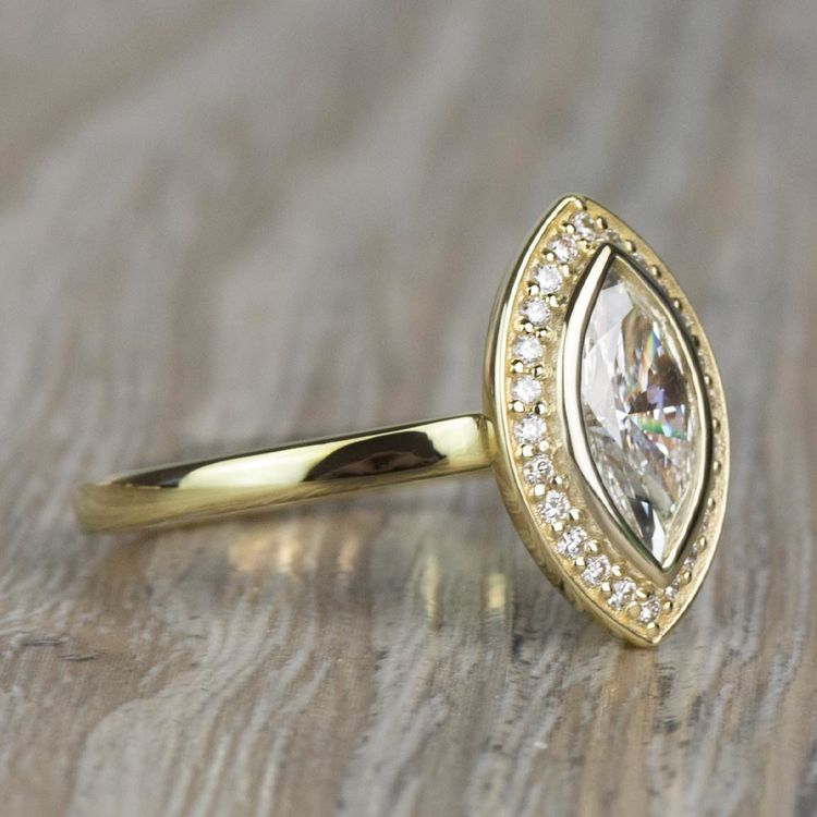 Vintage 1.20 Carat Marquise Halo Diamond Engagement Ring in Yellow Gold angle 3