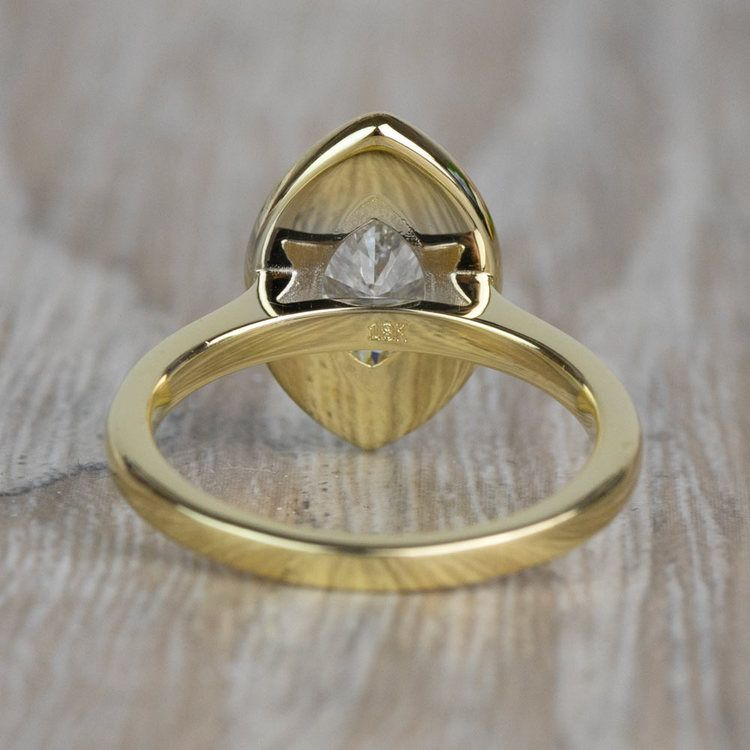 Vintage 1.20 Carat Marquise Halo Diamond Engagement Ring in Yellow Gold angle 4