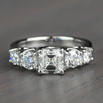 Vintage Asscher Five Stone Diamond Engagement Ring - small