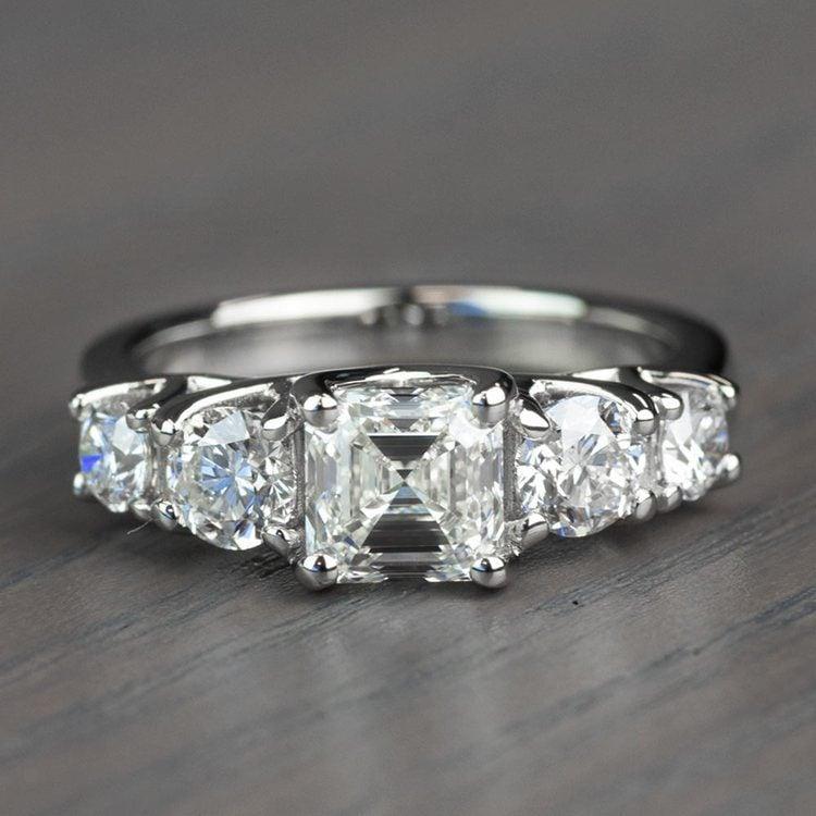 Vintage Asscher Five Stone Diamond Engagement Ring