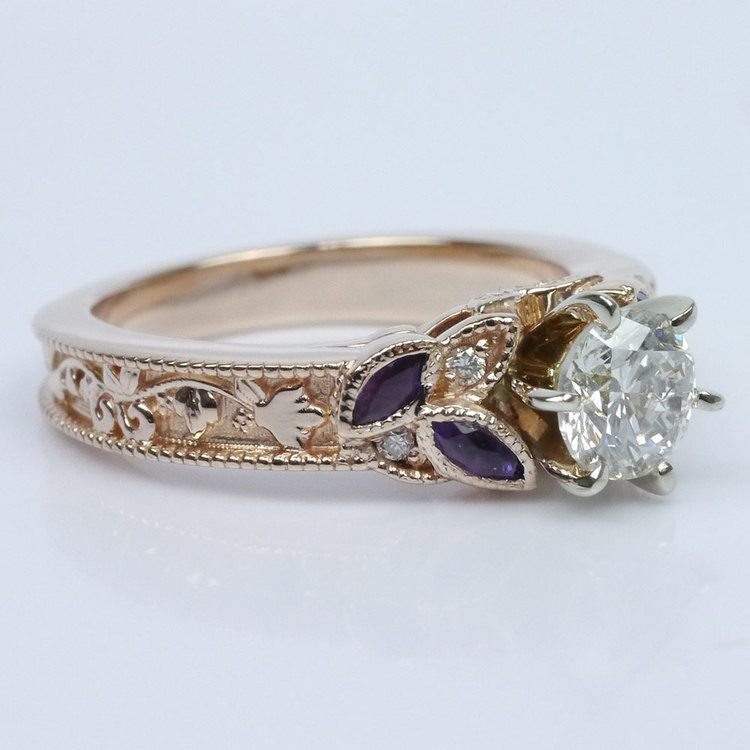 Vintage Diamond and Amethyst Floral Engagement Ring angle 3