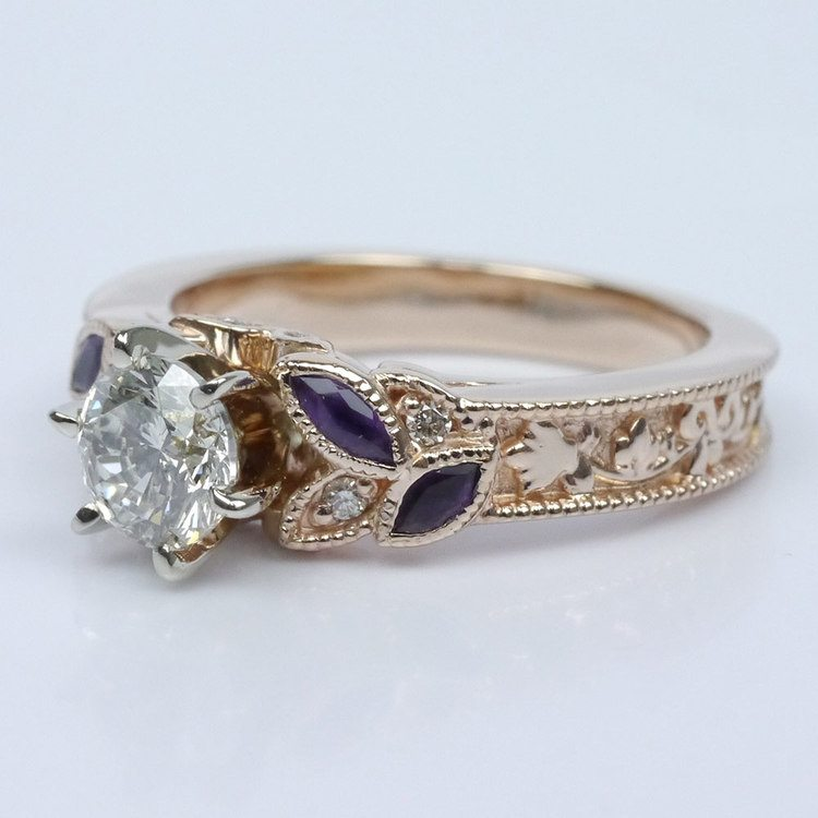 Vintage Diamond and Amethyst Floral Engagement Ring angle 2