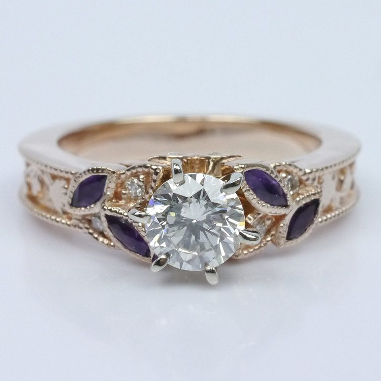 Vintage Diamond and Amethyst Floral Engagement Ring