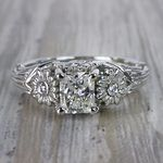 Vintage Diamond Sun Flower Engagement Ring - small