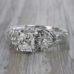 Vintage Diamond Sun Flower Engagement Ring - small angle 2
