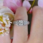 Vintage Diamond Sun Flower Engagement Ring - small angle 5