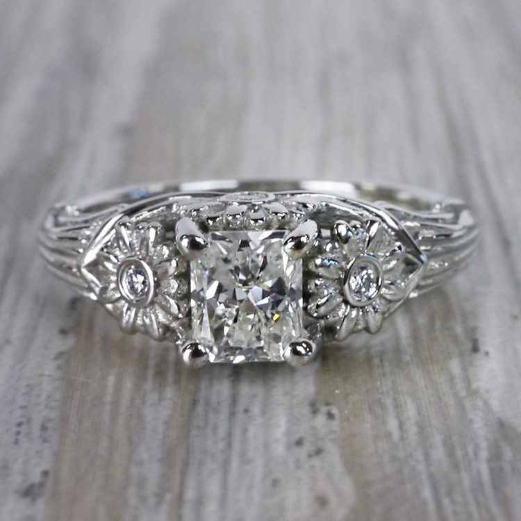 Vintage Diamond Sun Flower Engagement Ring