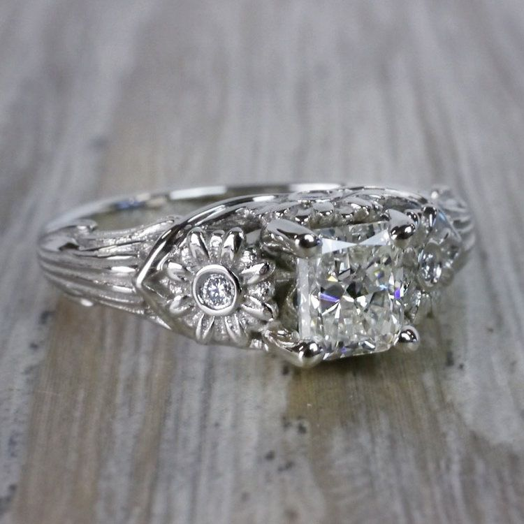 Vintage Diamond Sun Flower Engagement Ring angle 3