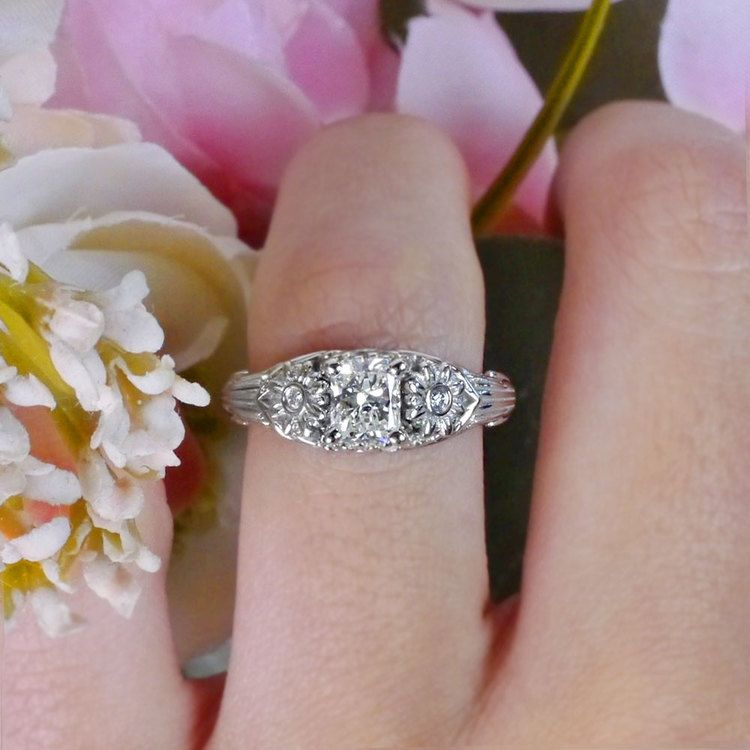 Vintage Diamond Sun Flower Engagement Ring angle 5