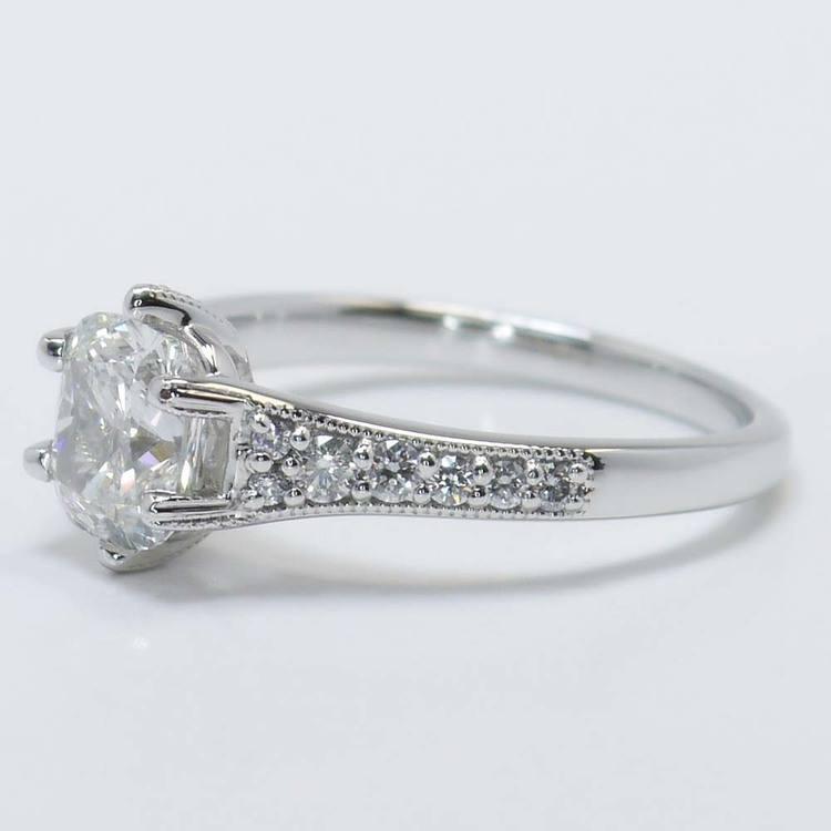 1.81 Carat Cushion Edwardian Vintage Diamond Engagement Ring angle 3