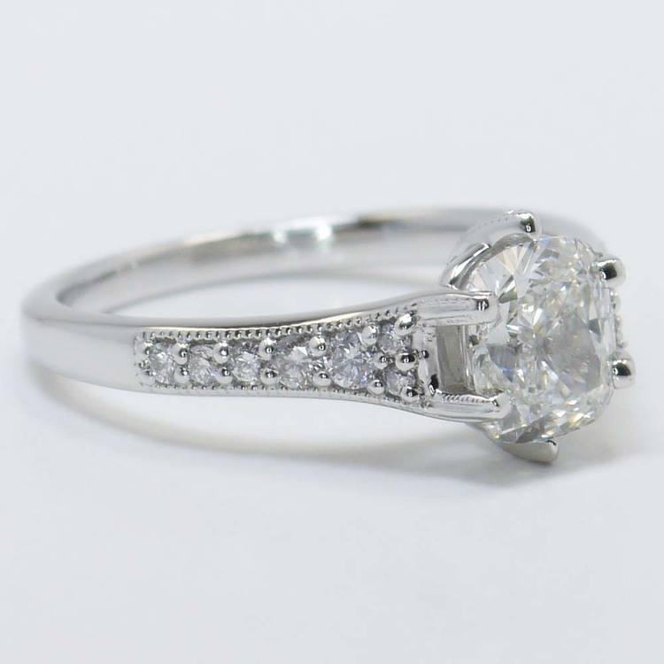 1.81 Carat Cushion Edwardian Vintage Diamond Engagement Ring angle 4