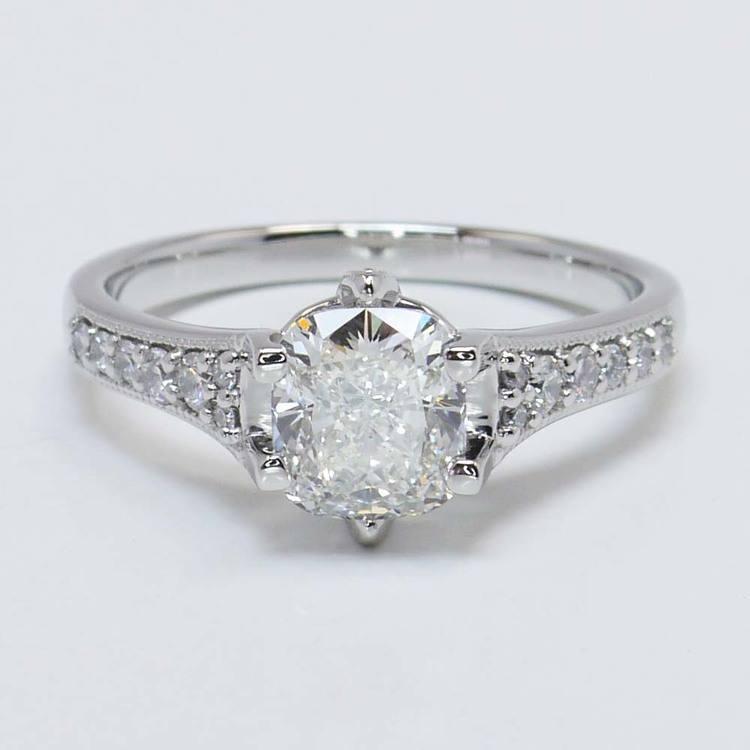 1.81 Carat Cushion Edwardian Vintage Diamond Engagement Ring