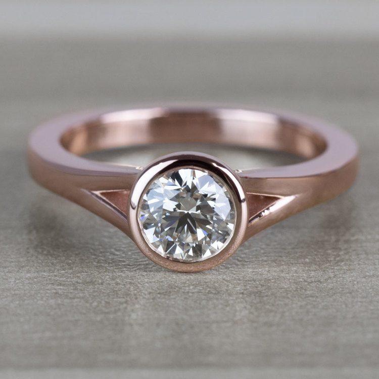 Vintage Floating Bezel Solitaire Diamond Engagement Ring