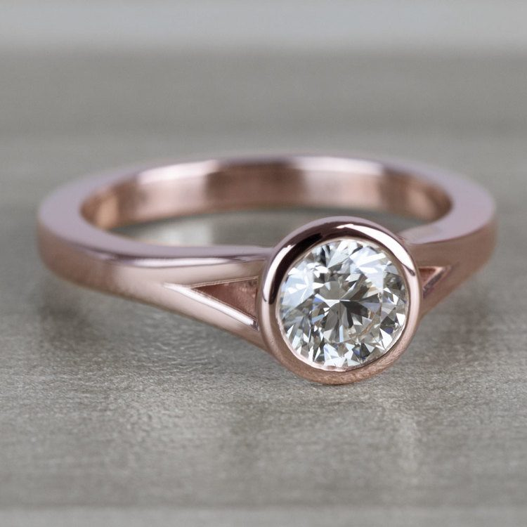 Vintage Floating Bezel Solitaire Diamond Engagement Ring angle 3