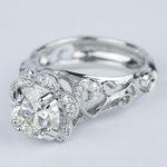 Vintage Floral Crown Parade Diamond Engagement Ring (1.38 ct.) - small angle 2