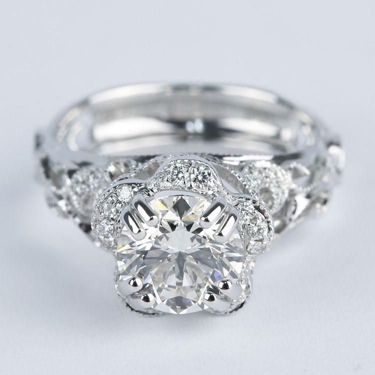 Vintage Floral Crown Parade Diamond Engagement Ring 1 38 ct