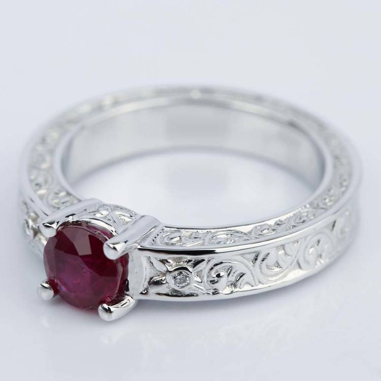Vintage Hand-Engraved Ruby and Diamond Engagement Ring angle 2