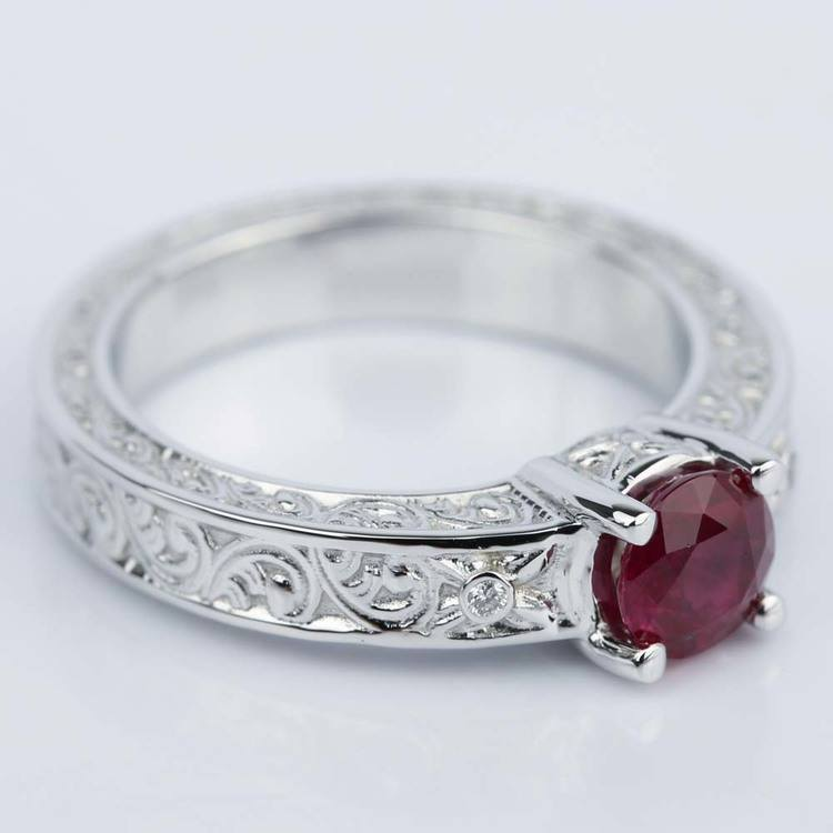 Vintage Hand-Engraved Ruby and Diamond Engagement Ring angle 3