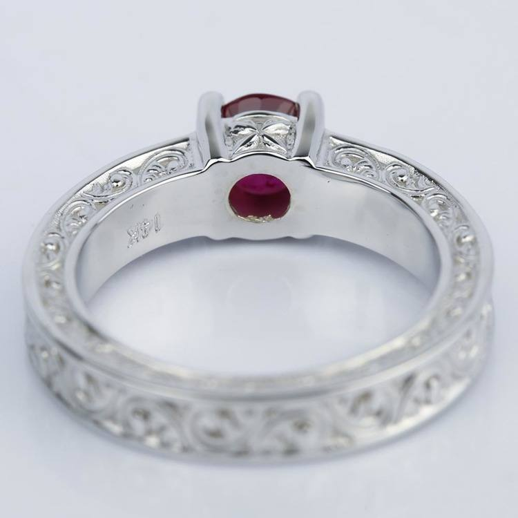 Vintage Hand-Engraved Ruby and Diamond Engagement Ring angle 4