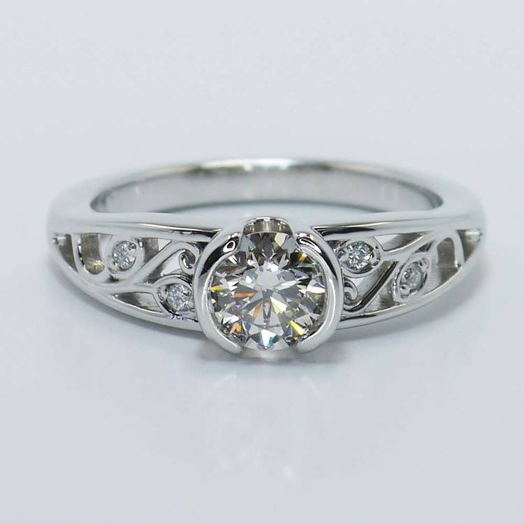 Vintage Round Diamond Bezel Filigree Ring (0.75 Carat)