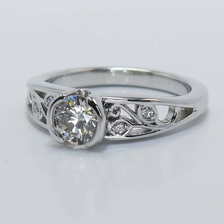 Vintage Round Diamond Bezel Filigree Ring (0.75 Carat) angle 2