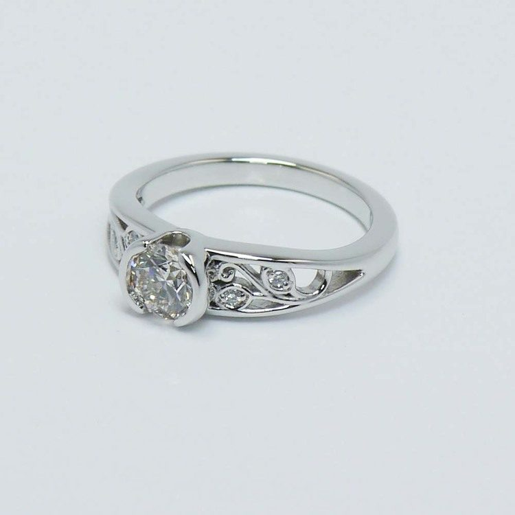 Vintage Round Diamond Bezel Filigree Ring (0.75 Carat) angle 3