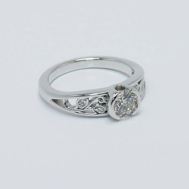 Vintage Round Diamond Bezel Filigree Ring (0.75 Carat) angle 4