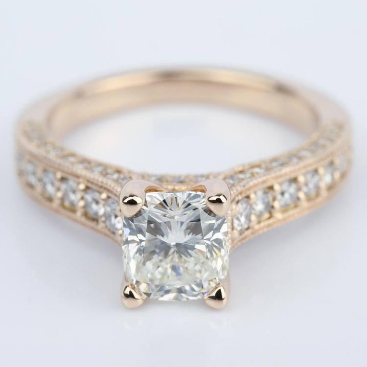Vintage Milgrain Cushion Diamond Engagement Ring