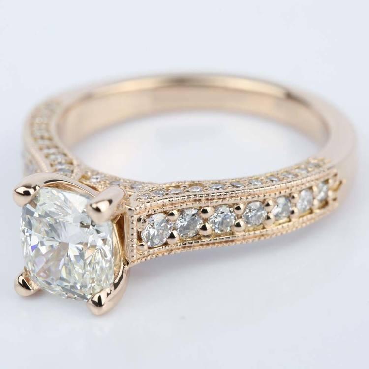Vintage Milgrain Cushion Diamond Engagement Ring angle 2