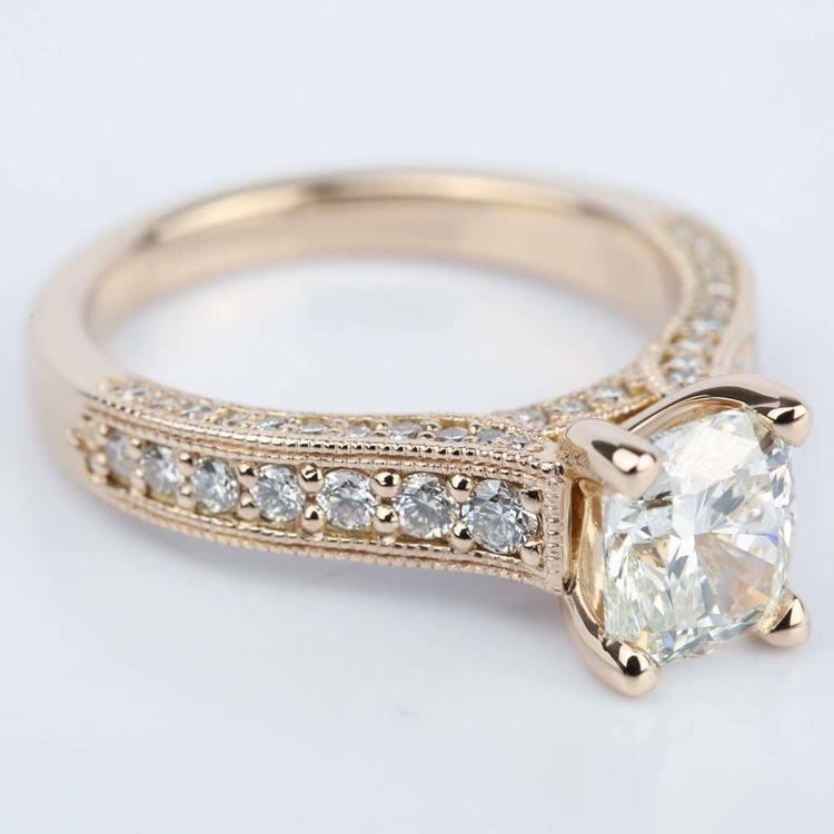 Vintage Milgrain Cushion Diamond Engagement Ring angle 3