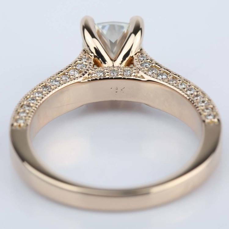 Vintage Milgrain Cushion Diamond Engagement Ring angle 4